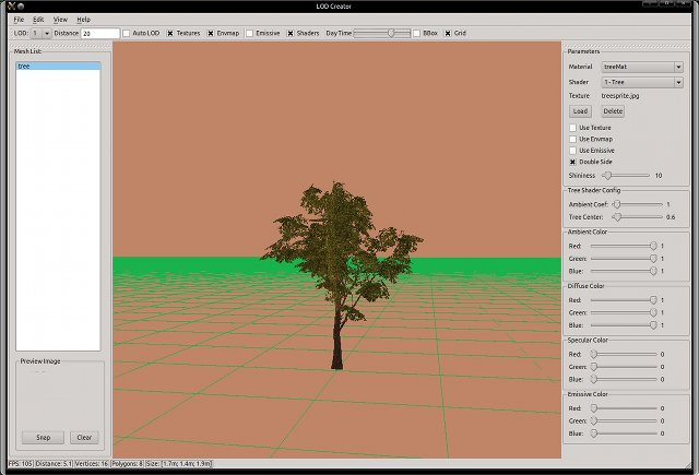LOD Creator - Generated tree sprite model (with GLSL shader)